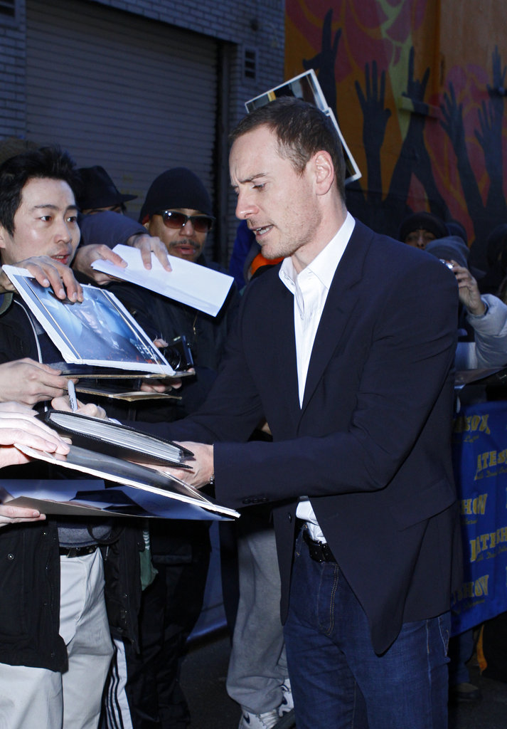 Michael Fassbender said hello to fans.