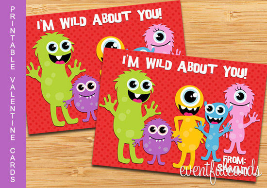 Monster Printable Valentine's Day Cards ($7)