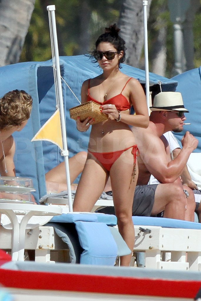 Vanessa Hudgens wore a red bikini.