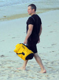 Matt Damon swam in a rash guard.