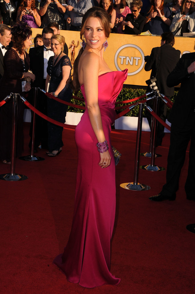 Sofia Vergara wore hot pink Marchesa to the 2012 SAG Awards.