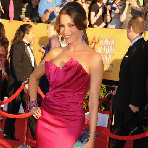 Sofia Vergara Hot Pink Marchesa Dress Pictures at 2012 SAG Awards