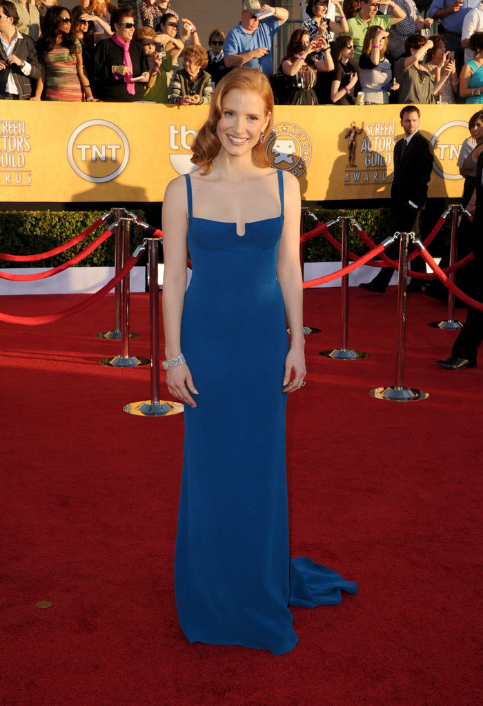 We love the bright blue hue of Jessica Chastain's Calvin Klein Collection gown at the SAG Awards — the custom-made dress fit her body like a glove.