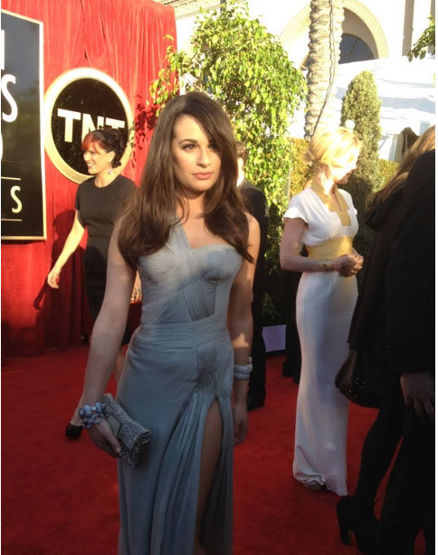 Lea Michele in Versace. Twitter User: SAGawards