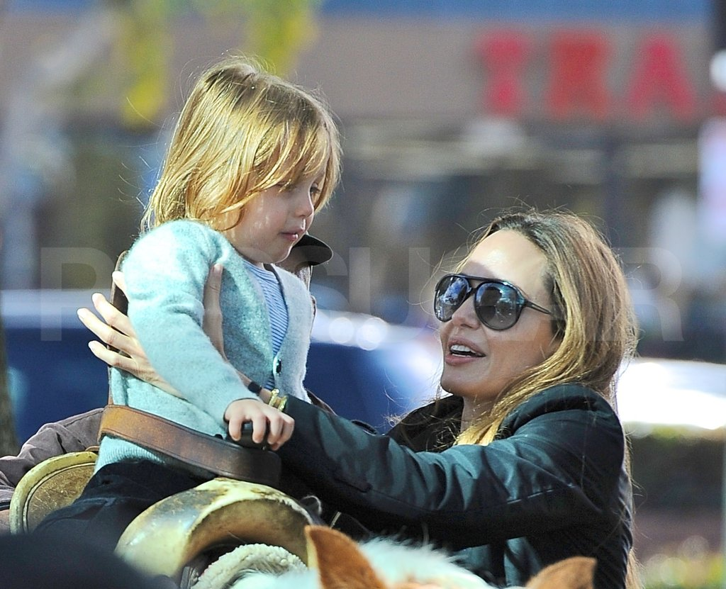 Angelina Jolie helped Knox Jolie-Pitt onto a horse.