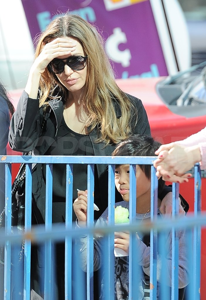 Angelina Jolie and Pax Jolie-Pitt enjoyed a shaved ice.