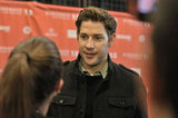 John Krasinski and PopSugar's Molly Goodson caught up at Sundance.