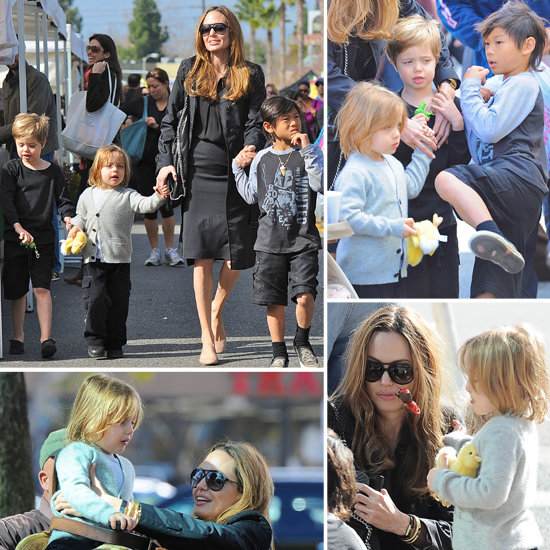 Angelina Hits the Farmers Market With Short-Haired Shiloh, Pax, and Knox!