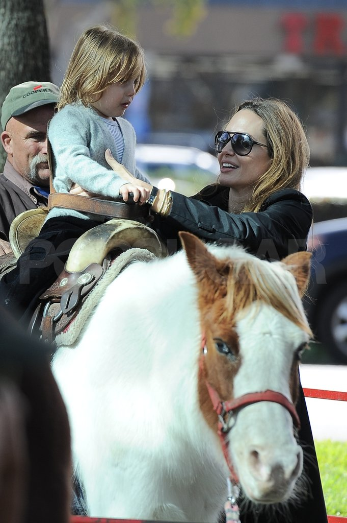 Angelina Jolie took Knox Jolie-Pitt to ride a horse.