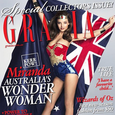 Miranda Kerr Sexy Wonder Woman Cover on Grazia Magazine Australia Day Issue