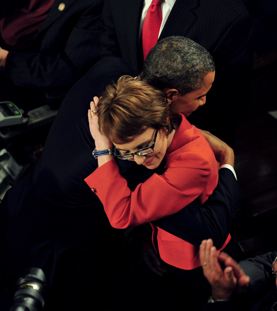 Gabrielle Giffords and the president share a big embrace.