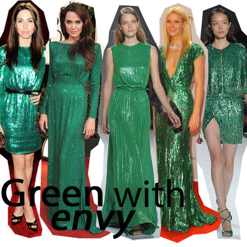 Shop The Green Sequinned Dress Trend As Seen On Gwyneth Paltrow and Angelina Jolie