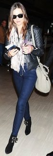 Miranda Kerr in Black Leather Quilted Jacket