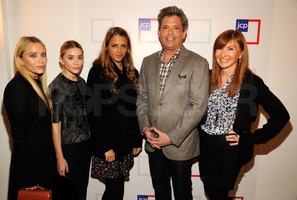 MK, Ashley, Charlotte Ronson, and Nicole Miller posed with JCP president Michael Francis.