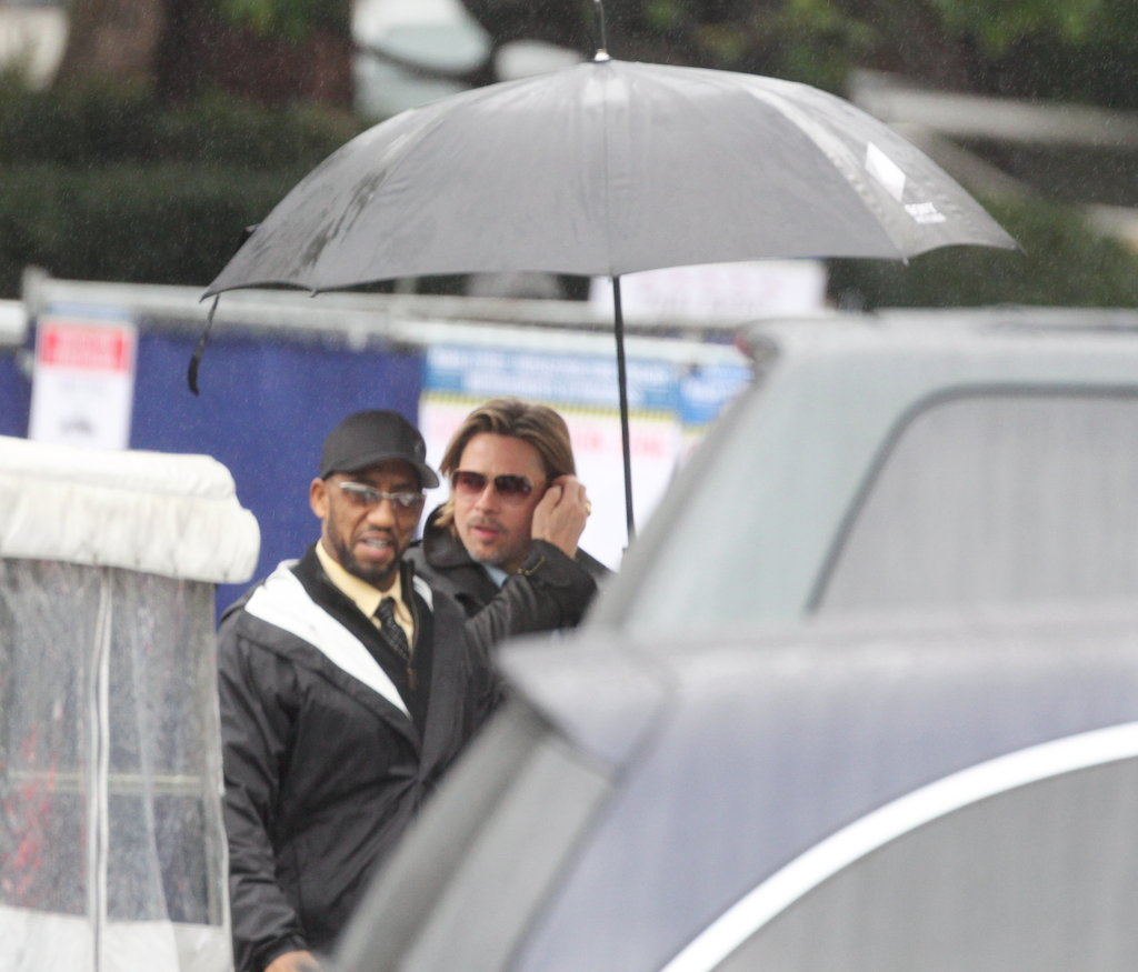 Brad Pitt got great news of his Oscar nomination on a rainy LA day.
