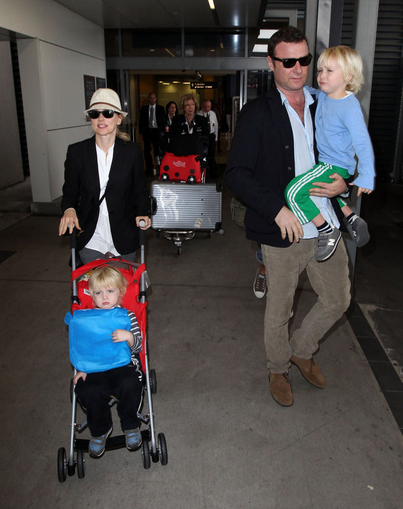 Naomi Watts and Liev Schreiber flew with Samuel and Sasha to Sydney.