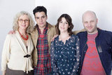 Blythe Danner, Christopher Abbott, Melanie Lynskey, and director Todd Louiso smiled for their film Hello I Must Be Going.