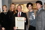 Kelly Rutherford, Blake Lively, Penn Badgley, and Matthew Settle joined New York City Mayor Michael R. Bloomberg.