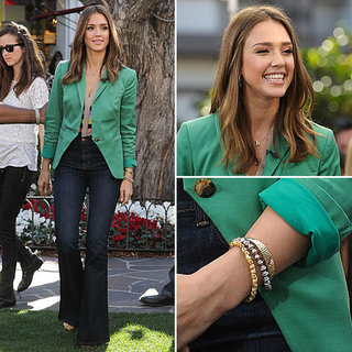 Jessica Alba Green Blazer January 2012