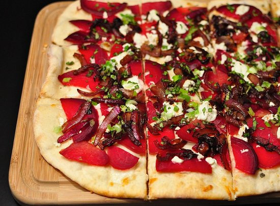 Beet, Caramelized Onions, and Goat Cheese Pizza