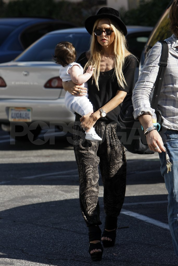 Rachel Zoe carried son Skyler in LA.