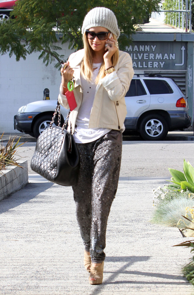 Ashley Tisdale went slouchy and sparkly with her daytime trousers.