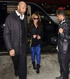 Beyoncé jazzed up her black leather jacket and booties with a pair of electric blue tribal-print pants.