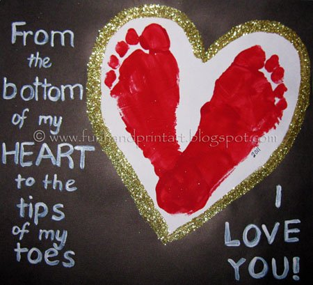 Footprint Heart Valentine's Day Keepsake