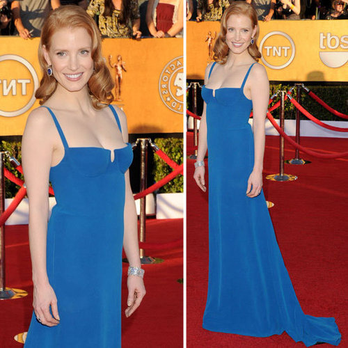 Pictures of Jessica Chastain in Blue Calvin Klein Gown at the 2012 SAG Awards