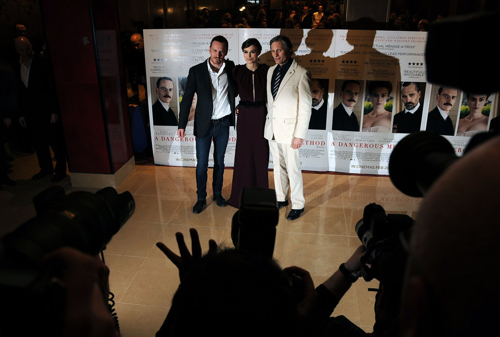 Michael Fassbender posed with Keira Knightley and Viggo Mortensen.
