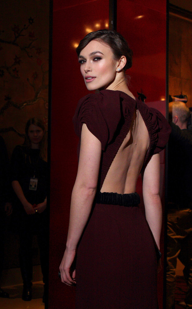 Keira Knightley in a backless dress.