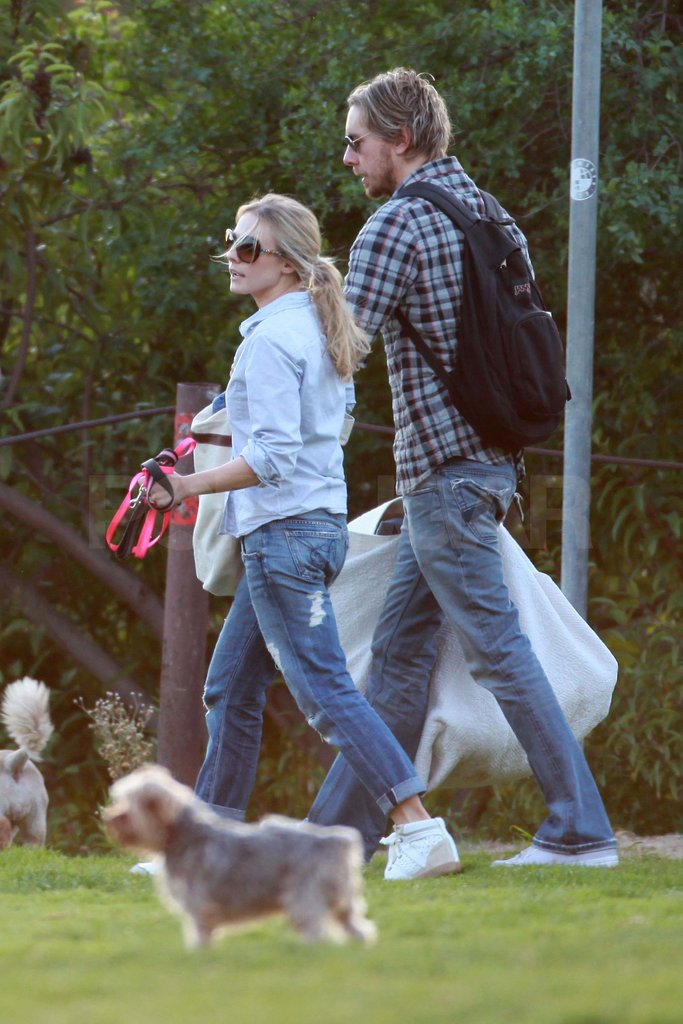 Kristen Bell and Dax Shepard at an LA park.