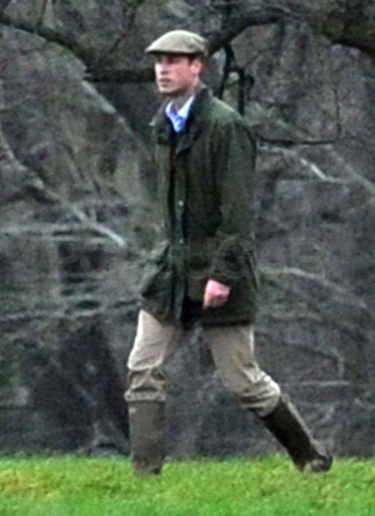 Prince William kept his feet dry in Hunter boots.