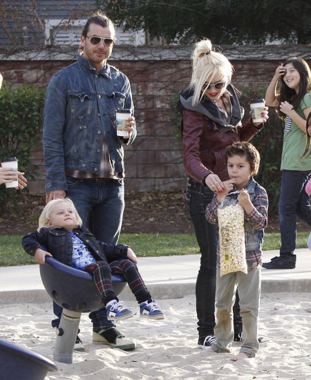 Kingston Rossdale dug into some popcorn while Gwen Stefani and Gavin Rossdale enjoyed hot drinks and Zuma Rossdale played.