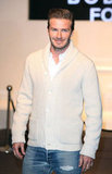 David Beckham in a cream sweater.