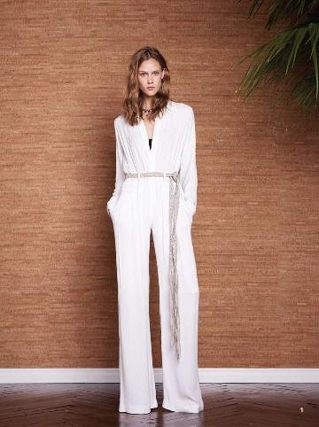 A white jumpsuit has '70s glamour written all over it.