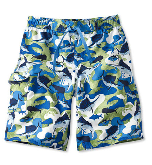 L.L. Bean Caribbean Blue Fish Swim Shorts