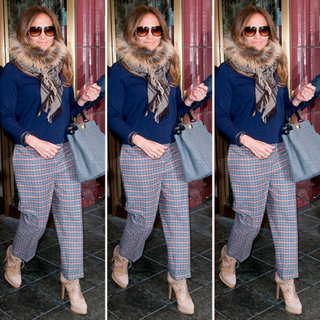 Jennifer Lopez Plaid Pants in NYC