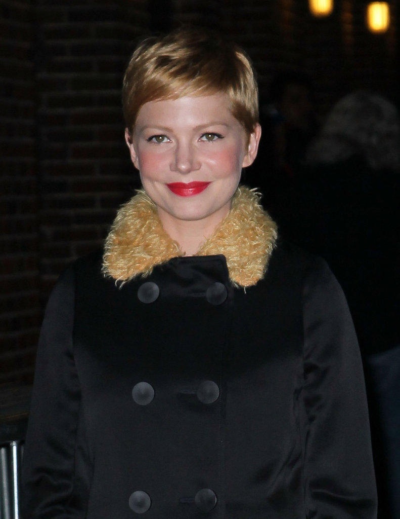 Michelle Williams was pretty for an appearance on Late Show.