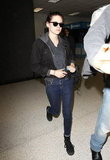 Kristen Stewart arrived back in LA from Paris.