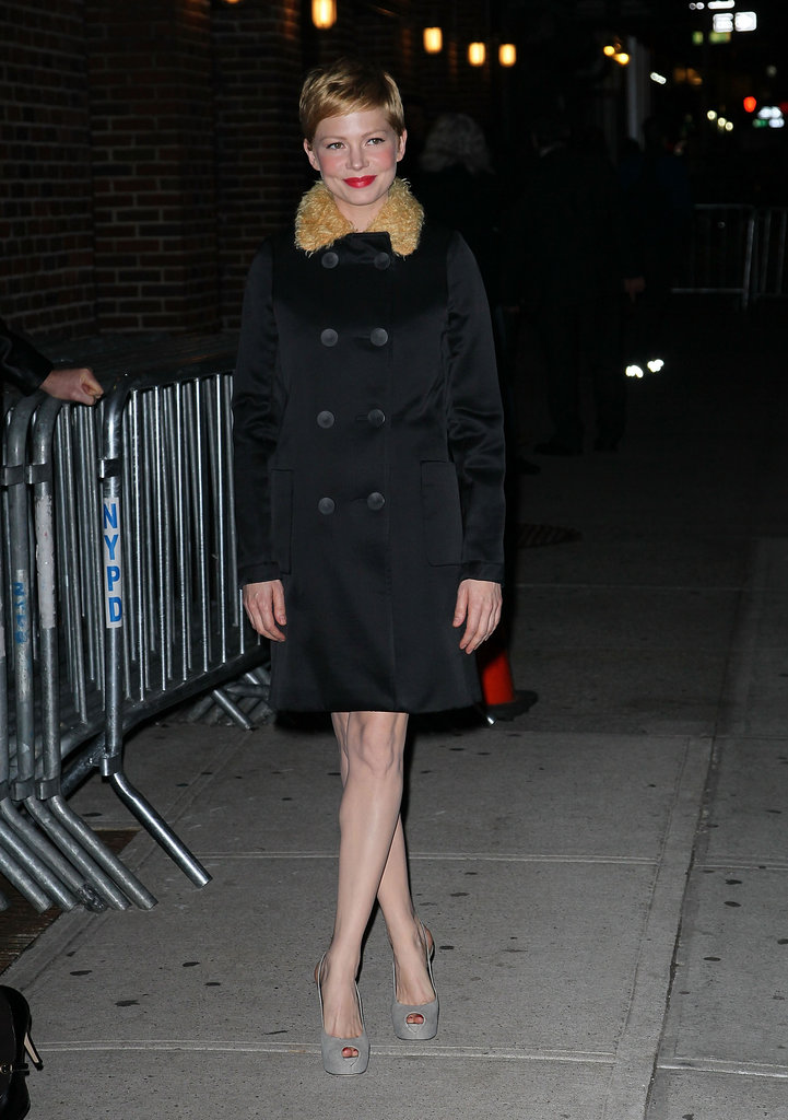 Michelle Williams had gray pumps on for a TV appearance.