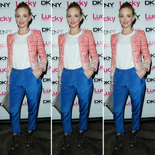 Jayma Mays Red Tweed Jacket Blue Silk Pants