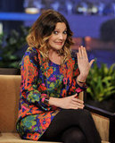 Drew Barrymore showed her engagement ring.