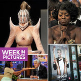 A Boob Dress Hits the Runway, Jean Dujardin Shocks With Sexy Poster, and Michelle Obama Feeds Pizza to Leno