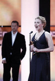 Scarlett Johansson accepted an honor at the 47th Golden Camera Awards in Berlin, Germany.