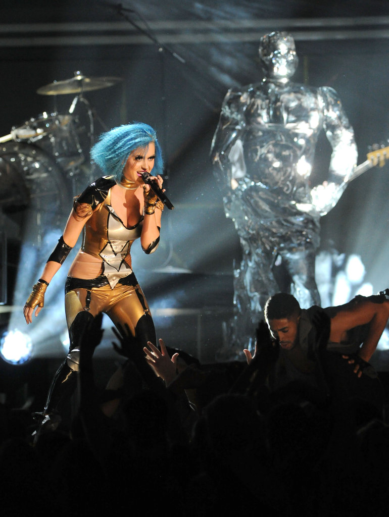Katy Perry Wears Skintight Costume — And Sings About Russell? — At Grammys