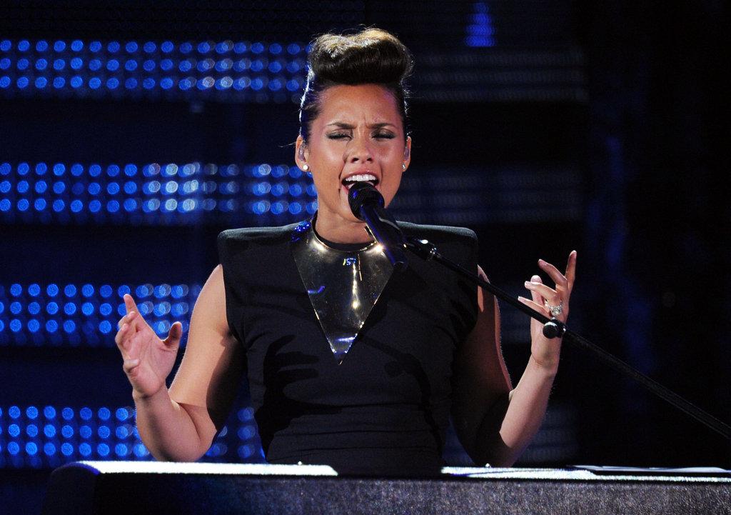 Alicia Keys sang at the Grammys.