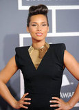 Alicia Keys wore her hair up.