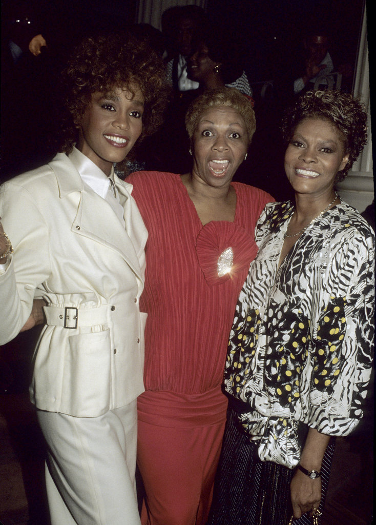 Whitney, her cousin Dionne Warwick, and mother Cissy Houston pose in 1987.