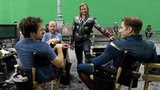 Director Joss Whedon, Mark Ruffalo, Chris Evans, and Chris Hemsworth on the set of The Avengers. Photo courtesy of Disney